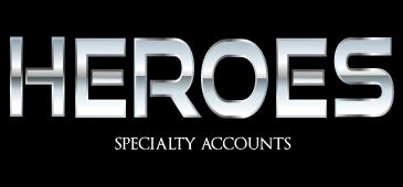 Heroes word in a silver metallic font